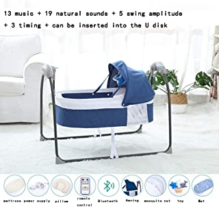 Baby Electric Cradle Bed Newborn Swing Rocking Chair Multifunctional Folding Sleeping Basket Intelligent Control Panel + Remote Control Birth Gift Blue