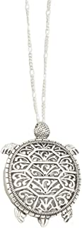 """Redwood Chubby Sea Turtle Antiqued Silver-Tone Open Work Filigree Magnifying Glass Pendant Necklace, 30"""" Long"""