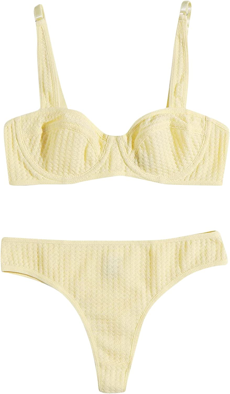 Floerns Women's Lingerie Set Textured Underwired Bra and Panty Nightgown