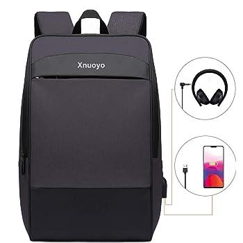 Xnuoyo 15.6 Pouces Sac /à Dos Scan Smart TSA Sac /à Dos Ordinateur Portable Grande Capacit/é R/ésistant /à leau dordinateur Sac /à Dos avec Port USB pour Hommes et Femmes Loisirs Noir02
