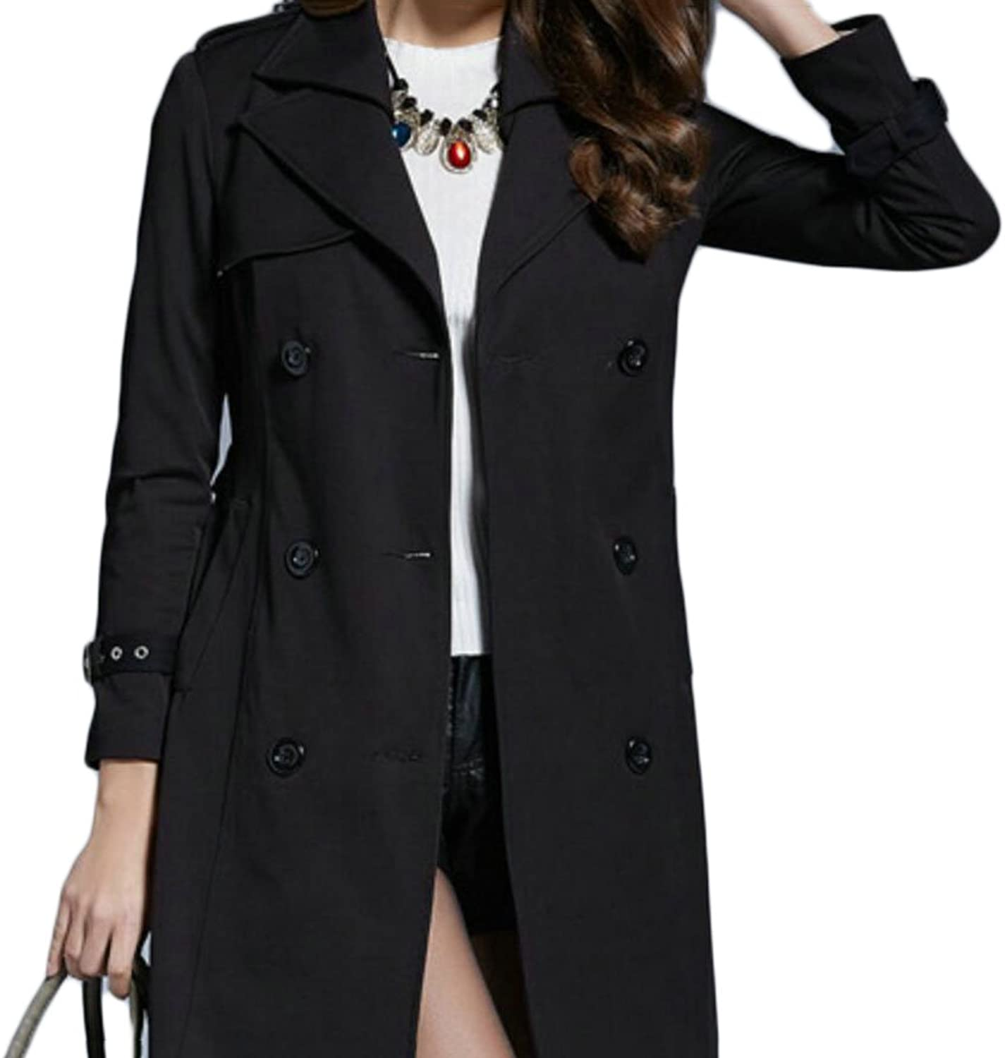 GAGA Women's Double Breasted Long Trench Outwear Pea Coat Jackets With Belt