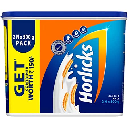 Standard Horlicks Health and Nutrition Drink - 2 x 500 g Classic Malt(2 packs of nutrition drink along with a free container)
