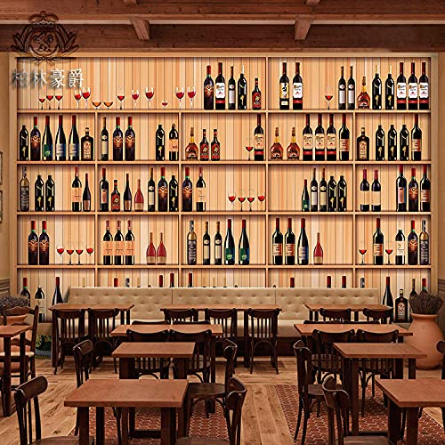 XHXI Estante de vino tridimensional 3D Gabinete de vino Sin costuras Mural grande Restaurante occidental Bar Ktv Restaurant papel Pintado de pared tapiz Decoración dormitorio Fotomural-350cm×256cm