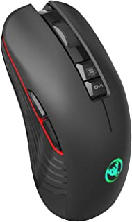 2.4Ghz Wireless Gaming Mouse with USB Receiver and USB C Adapter,Silent Click,7 Colors Backlit,3600DPI,750Mah Rechargeable...