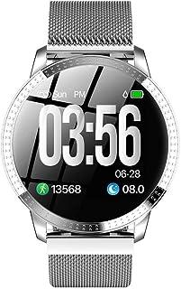 Reloj inteligente femenino, pulsera de metal con podómetro de ejercicio, detección de frecuencia cardíaca, recordatorio de llamada, función de ejercicio, detección de frecuencia cardíaca