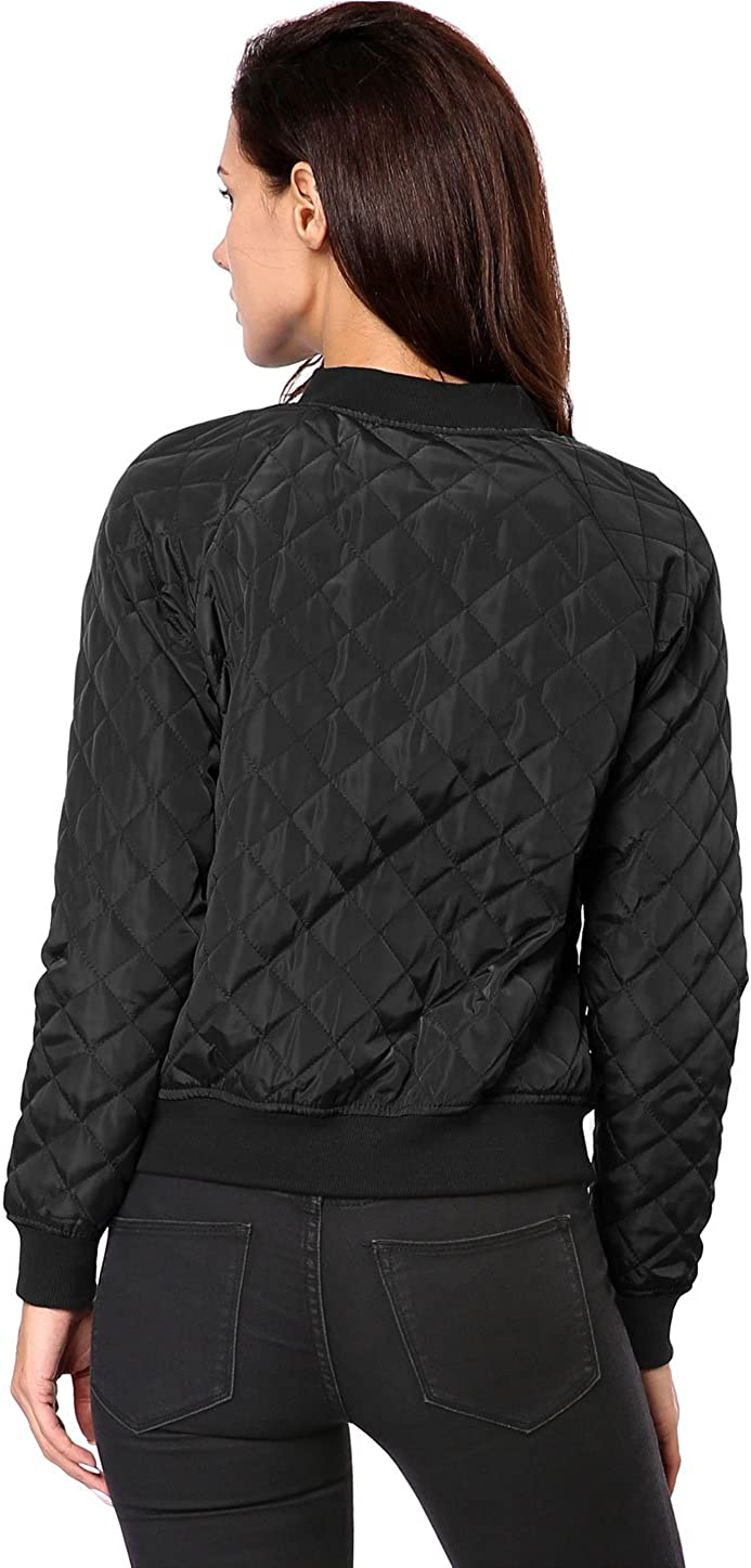 Allegra K Women's Raglan Long Sleeves Quilted Zip Up Bomber Jacket with Pockets