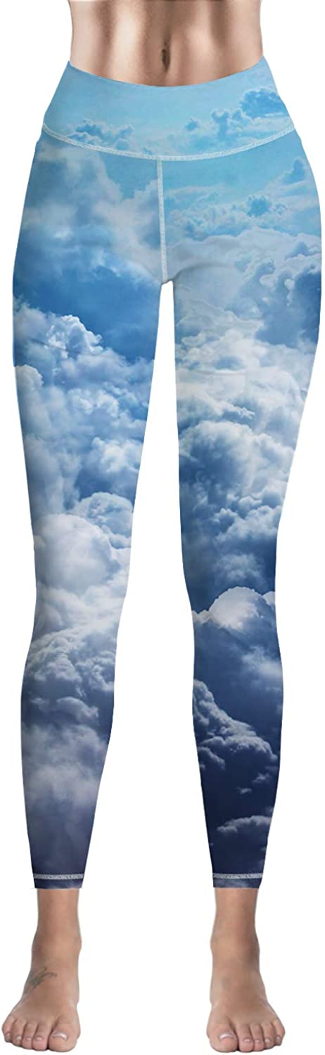 Eelivero bluee Sky and Clouds Printed Basic Leggings Yoga Workout Women Girls Spandex HighWaist Stretch Pants