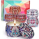 6 Pack Scented Aromatherapy Candles Gifts Sets for Women, Large Size 4.4OZ Aromatherapy Candle, Natural Soy Wax Portable Travel Tin Candles Gifts for Mother's Day Birthday Bath Boga