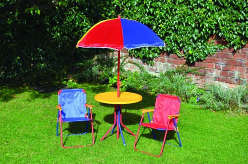 Kids Children's Picnic Garden Parasol Umbrella Folding Patio Table Chairs Set