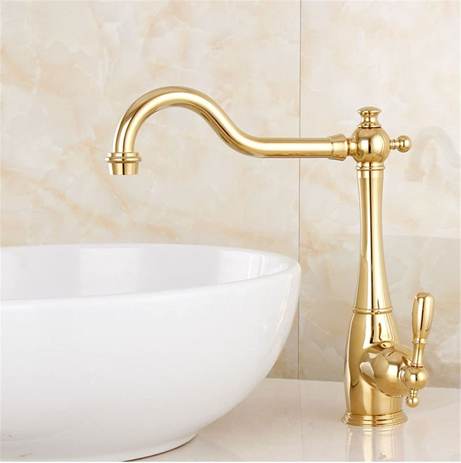 Commercial Single Lever Pull Down Kitchen Sink Faucet Brass Constructed Polished European Style Copper gold Above Counter Basin Basin Hot and Cold Water Faucet Long redating Kitchen Sink Faucet