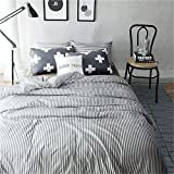 VM VOUGEMARKET 3 Piece Duvet Cover Set Queen,Striped Duvet Cover with 2 Pillow Shams - Hotel Quality 100% Cotton - Luxurious, Comfortable, Breathable, Soft and Extremely Durable (Queen,Colette)