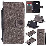 pinlu® PU Leder Tasche Etui Schutzhülle für Microsoft Lumia 550 Lederhülle Schale Flip Cover Tasche mit Standfunktion Sonnenblume Muster Hülle (Grau)