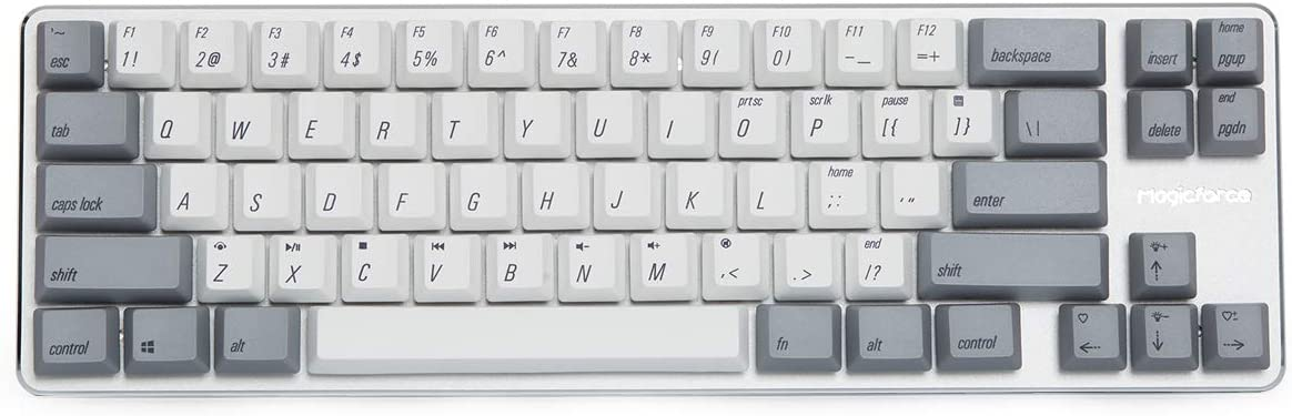 Mechanical Keyboard Gaming Keyboard Kailh Blue Switch Wired Backlit PBT Keycaps Mini Design (60%) 68 Keys Keyboard Magicforce by Qisan(White Gray Combo)
