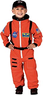 Aeromax Personalized Jr. Astronaut Suit with Embroidered Cap and NASA Patches, Orange