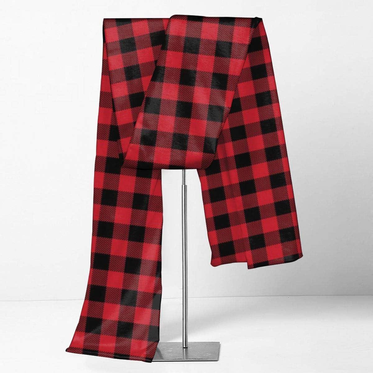 Rustic Red Black Buffalo Check Plaid Pattern Scarfs – Imported Lightweight Neckwear Blanket Wrap Winter Shawl