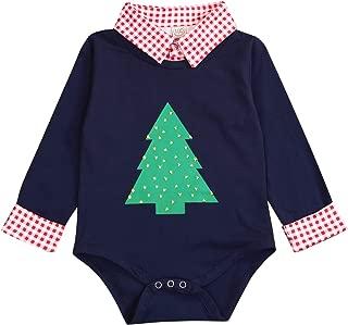 Newborn Baby Boys Christmas Outfit Plaid Shirt Romper Jumpsuit Bodysuit Xmas Clothes Set