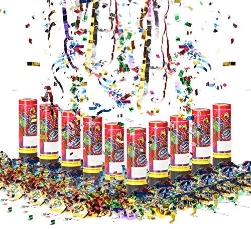 com-four® 10x Shooter Party Popper-Set 10,5 cm, Konfetti-Kanone, buntes glänzendes Konfetti für Silvester, Partys, Geburtstage, Konfetti Bombe (10 Stück - 15.5cm)