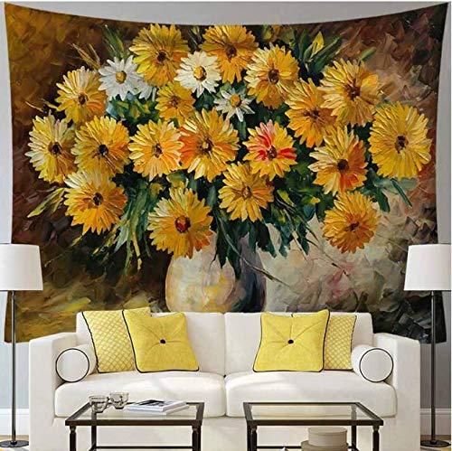 Peinture Tournesols Tapisserie Tenture murale Chambre Décor Naturel Paysage Tapisserie Mince Couvre-lit Table Canapé Couverture 150 * 200 Cm