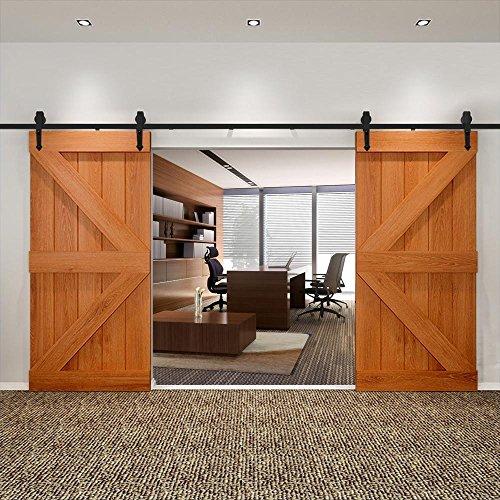 Yaheetech Schiebetürsystem Laufschiene Schiebetüren Komplettset Schiebetürbeschlag 2 Türen mit Abstandshalter Montage-Set 396 cm