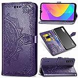 Abuenora Hülle für Xiaomi Mi A3, Handyhülle Leder Tasche Stoßfest Flipcase Wallet Hülle Schutzhülle Handytasche Ledertasche Ständer Klapphülle Brieftasche Mandala Violett