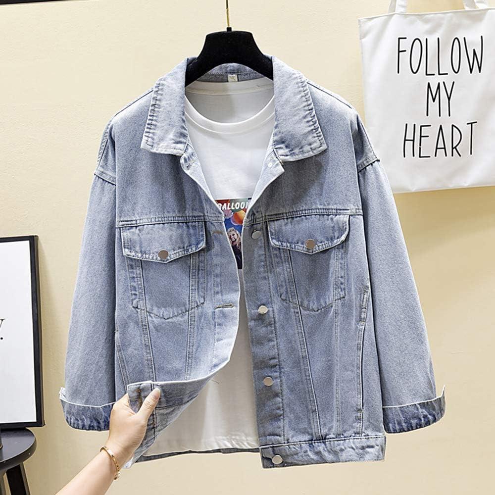 sandbank Women Denim Jacket Stand Collar Top Button Long Sleeve Classic Loose Jean Trucker Jacket With Pocket