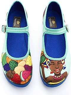 Macondas Women's Fruit Seller Printed Canvas Walking Shoe