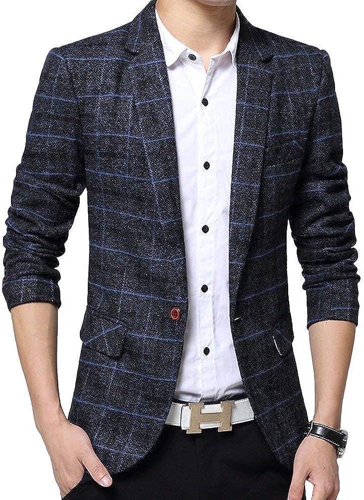 Blazer Hommes Blazer /À Carreaux Hommes Costume Veste Revers Manches Classique Longues Slim Fit Business Automne Printemps Blazer Hommes 1 Knop Casual Men Gar/çons