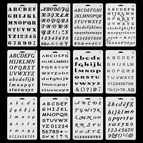 RtottiM 12 Stück Alphabet Malerei Wiederverwendbar Kunststoff Alphabet Schablonen Schriftzug Schablone Alphabet für DIY Scrapbooking Malerei Zeichnen Bastelzubehör