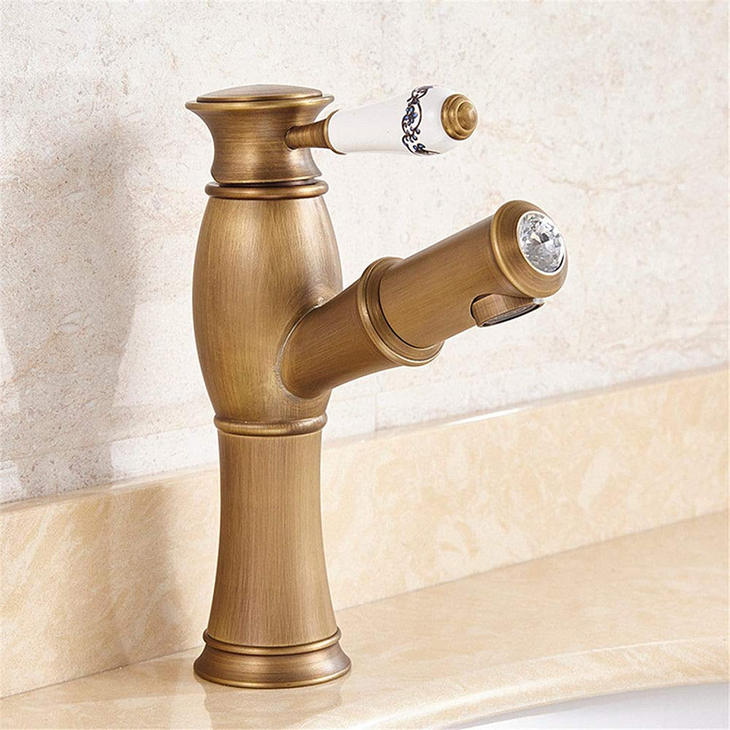 Hlluya Professional Sink Mixer Tap Kitchen Faucet A full-scale bronze basin mixer single hole on the basin of cold and hot antique pull taps, B