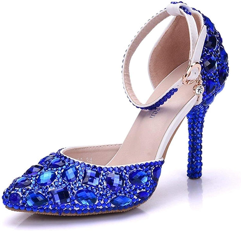 ZHRUI Damen Knöchelriemen Knöchelriemen Knöchelriemen Strass Kristalle Blau Hochzeit Abend Pumps Schuhe UK 5 (Farbe   -, Größe   -)  1eb704