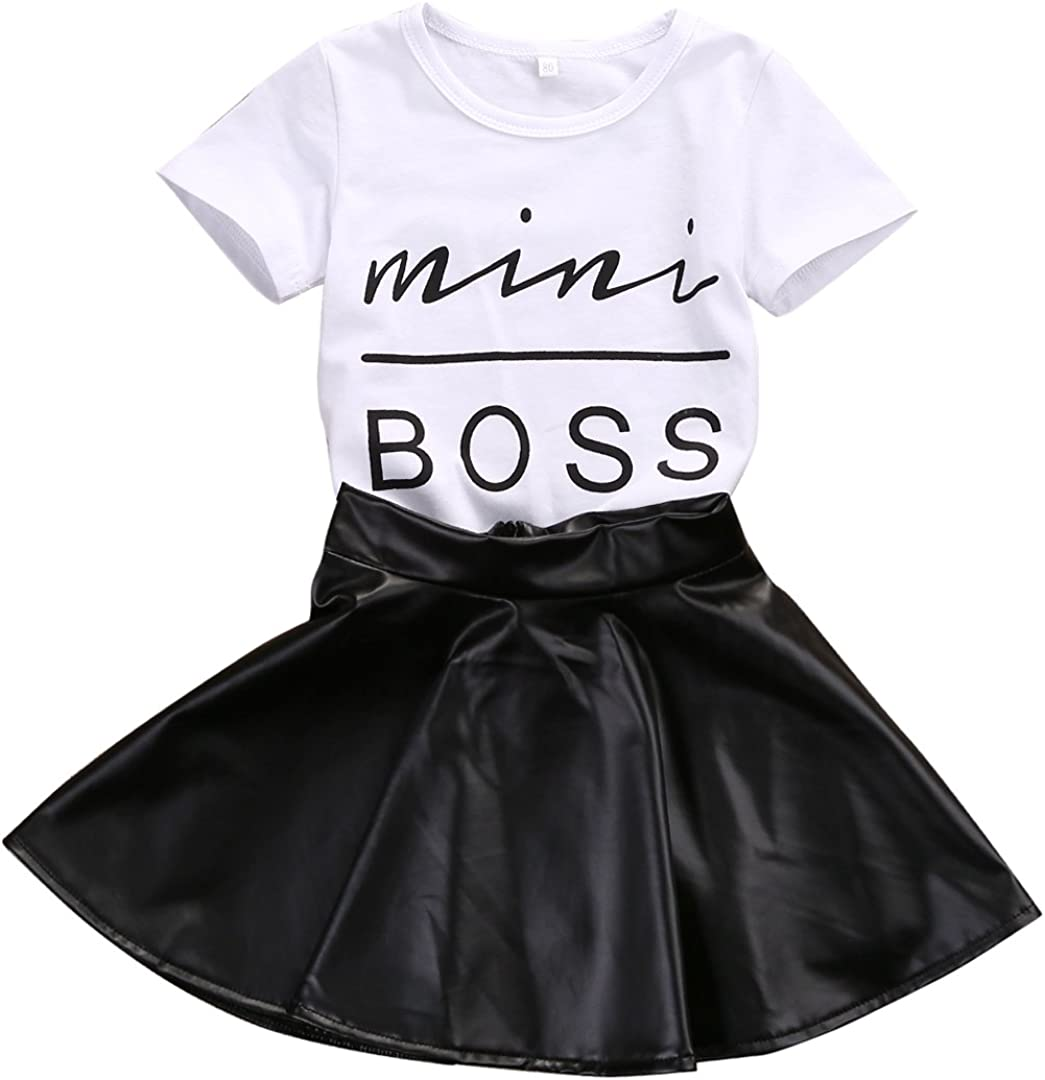 Toddler Kid Baby Girl Skirt Outfit Feather Short Sleeve Top T-Shirt Fall Winter Warm Clothes Set 1-7T