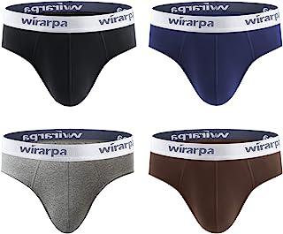 wirarpa Mens Briefs Underpants Cotton Soft Wide Waistband Underwear Basic No Fly