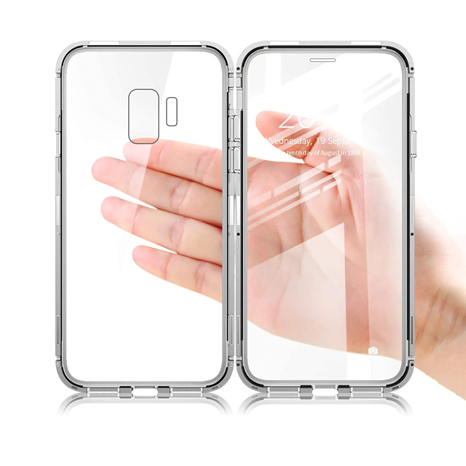 Samsung Galaxy Note 9 Case, NOHON [Full Body] Slim Fit Ultra-Thin Lightweight Magnetic Case, [Metal Frame] [Clear Tempered Glass Back and Front] [Support Wireless Charging] for Galaxy Note 9 (Silver)