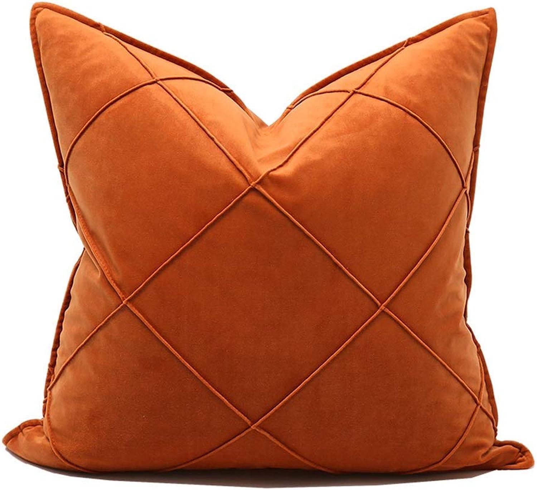 Couvertures de table Sac minimaliste grand canapé oreiller de treillis oreiller voitureré de velours de velours de couleur unie (Couleur  Orange, Taille  48x48 cm) pour la décoration Salon, chambre à co