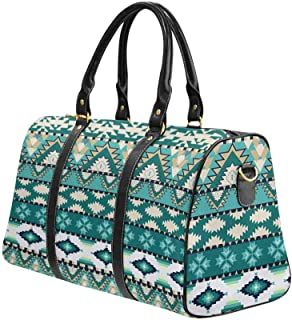 Weekender Bag Overnight Carry-on Tote Duffel Bag Aztecs Pattern on Cold Color