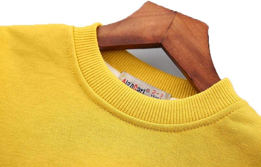 KidsCartoon Lion Pattern Pullover Sweatshirt Crewneck Solid T-Shirt for Winter,Age 2-7 Years