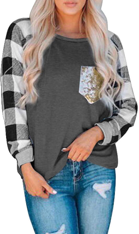 Diukia Women's Plaid Print Color Block Long Sleeve Pullover Casual Crewneck Raglan Sleeve Sequin Pocket Tops
