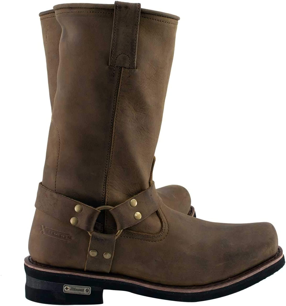 Xelement 1556 Crazy Horse Mens Brown Harness Motorcycle Boots 9