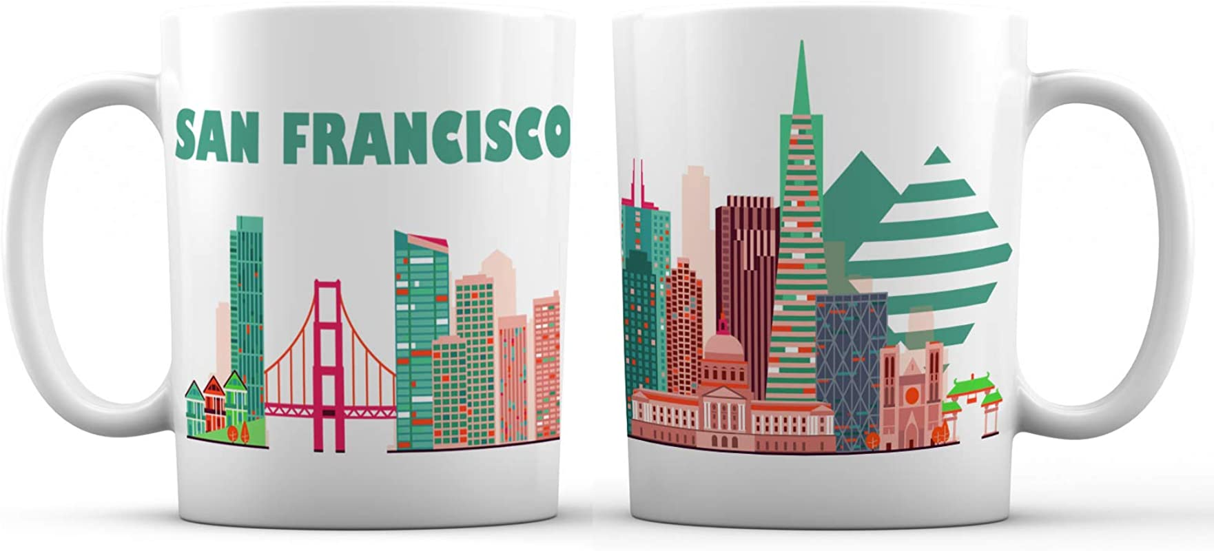 San Francisco Skyline View Souvenir Ceramic Coffee Mug 11 Oz Golden Gate California Great Gift For Men Women And Tourists