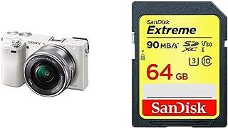 SONY ミラーレス一眼 α6000 パワーズームレンズキット E PZ 16-50mm F3.5-5.6 OSS ホワイト ILCE-6000L W + SanDisk エクストリーム SDXCカード 64GB Class10 UHS-I 読取り最大90MB/秒 SDSDXVE-064G-EPK [エコパッケージ]