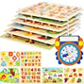 Wooden Toddler Puzzles and Rack Set - (6 Pack) Bundle with Storage Holder Rack and Learning Clock - Kids Educational Preeschool Peg Puzzles for Children Babies Boys Girls - Alphabet Numbers Zoo Cars by Asher and Olivia