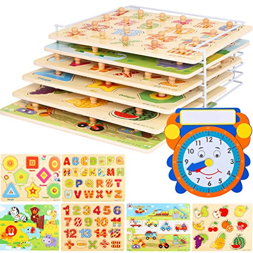 Wooden Toddler Puzzles and Rack Set - (6 Pack) Bundle with Storage Holder Rack and Learning Clock - Kids Educational Preschool Peg Puzzles for Children Babies Boys Girls - Alphabet Numbers Zoo Cars