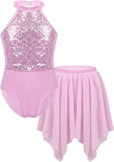 renvena Kids Girls Classic Ballet Dance Leotard Gymnastic Active Sleeveless Floral Lace Splice Keyhole Back Bodysuit