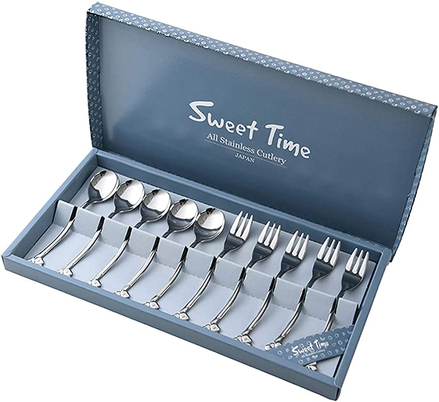 Stainless Steel Coffee Spoons And Fruit Forks Made In Japan 10 Piece Mini Demitasse Espresso Spoons And Bistro Forks Set For Dessert Appetizer Cake Tea Four Leaf Clover