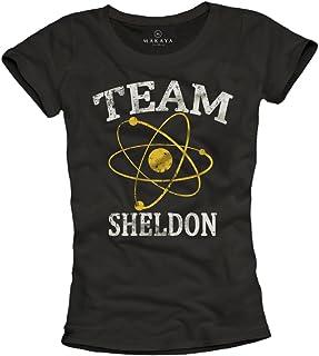 MAKAYA Maglietta Donna Nerd Team Sheldon T-Shirt Nera