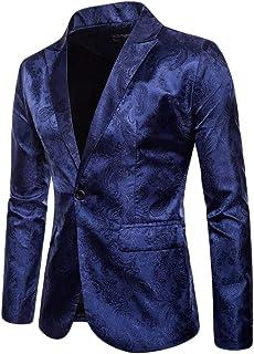 WanYangg Blazer da Uomo Elegante Un Pulsante Giacca da Blazer da Party Stampa Scura Stile Palazzo Fantasia Tempo Libero Sl...