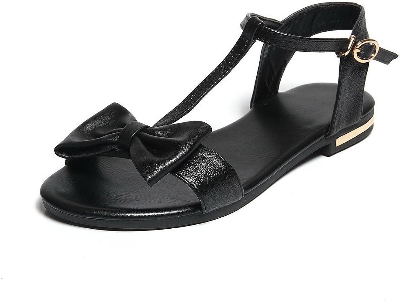 WeiPoot Women's Open Toe No Heel Solid Buckle Flats-Sandals