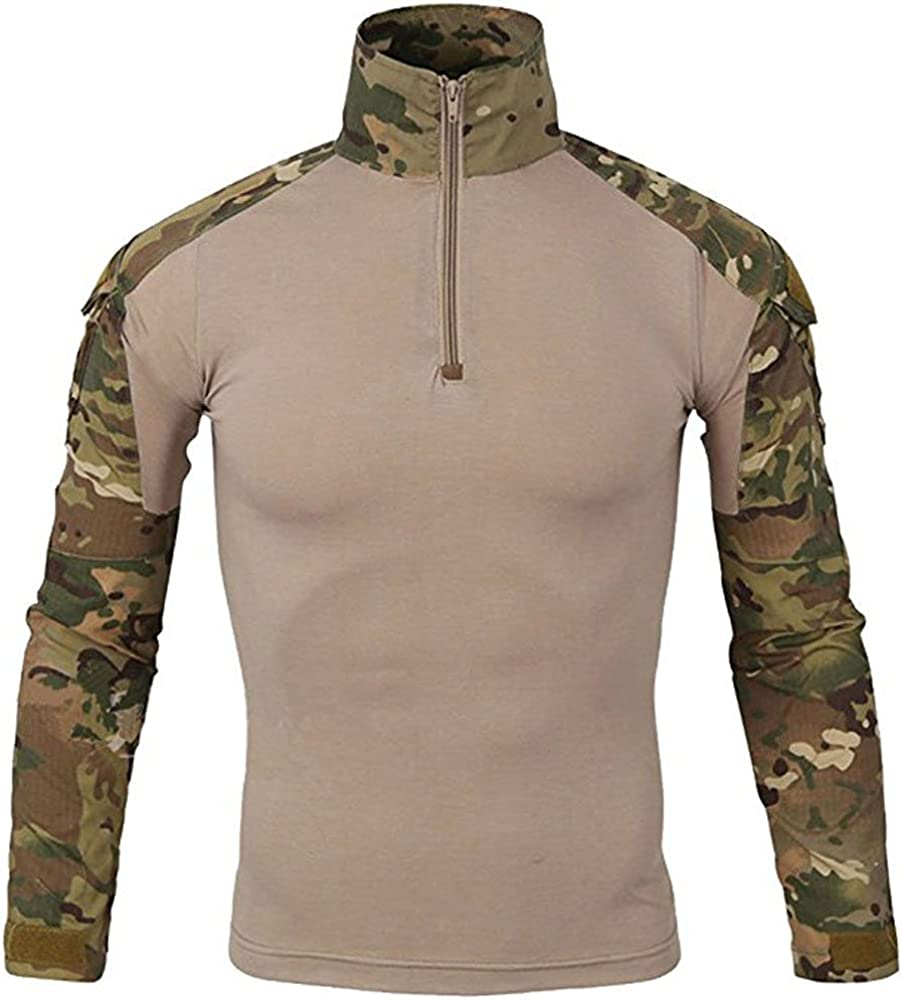 LiliChan Tactical Shirts for Men Long Sleeve Military Shirt Outdoor Shirt Tactical Combat Shirt with Zipper