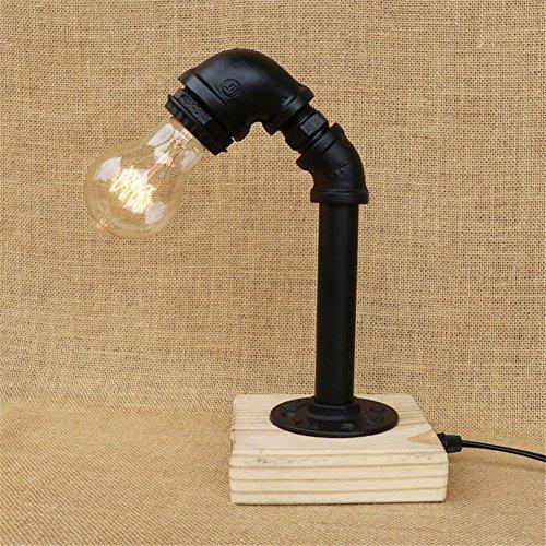 Lampe de Table Retro Art en bois Tubes d'eau Lampe de table Lampe de table vintage créative pour salon Chambre Bar Hall Pub Bureaux Café Ambiance Décoration Lampadaire de chevet, F