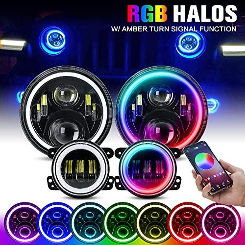 "BEEYEO 7 Inch Bluetooth RGB Halo LED Headlights with 4.5"" RGB Fog Lights DOT Kits for 1997-2018 Jeep Wrangler JK JKU TJ LJ,w  Halo Ring DRL and Amber Turn Signal ,Hi Lo Beam"